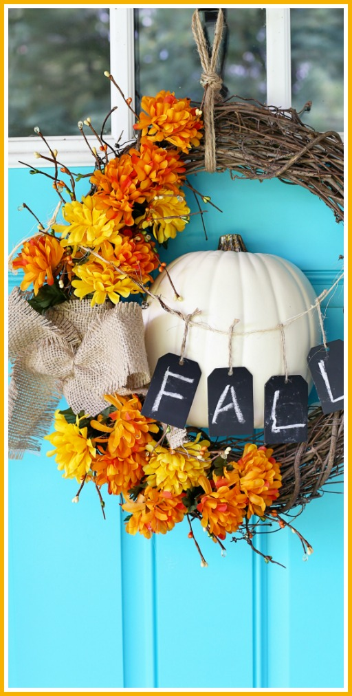 fall wreath craft pumpkin idea