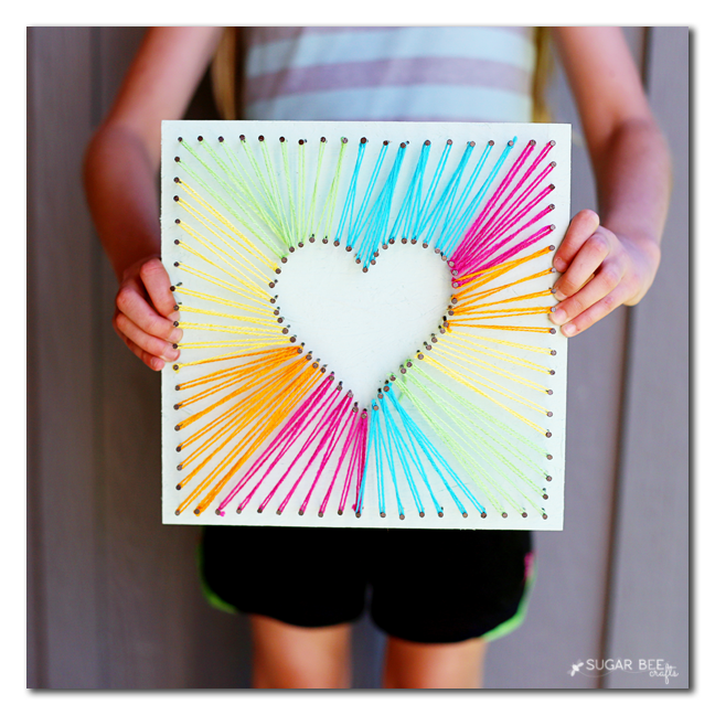 String Art Heart Kids Craft Sugar Bee Crafts
