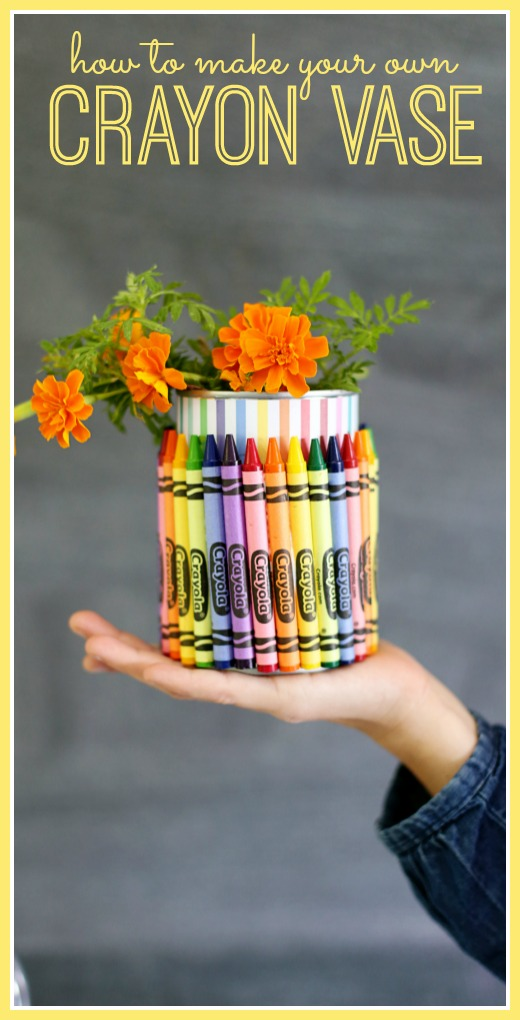 how to make your own crayon vase, teacher gift idea