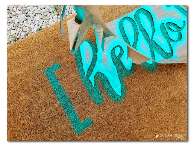 spraypaint diy doormat make yourself