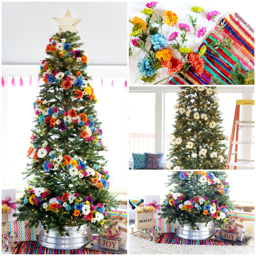 floral-christmas-tree-diy-collage