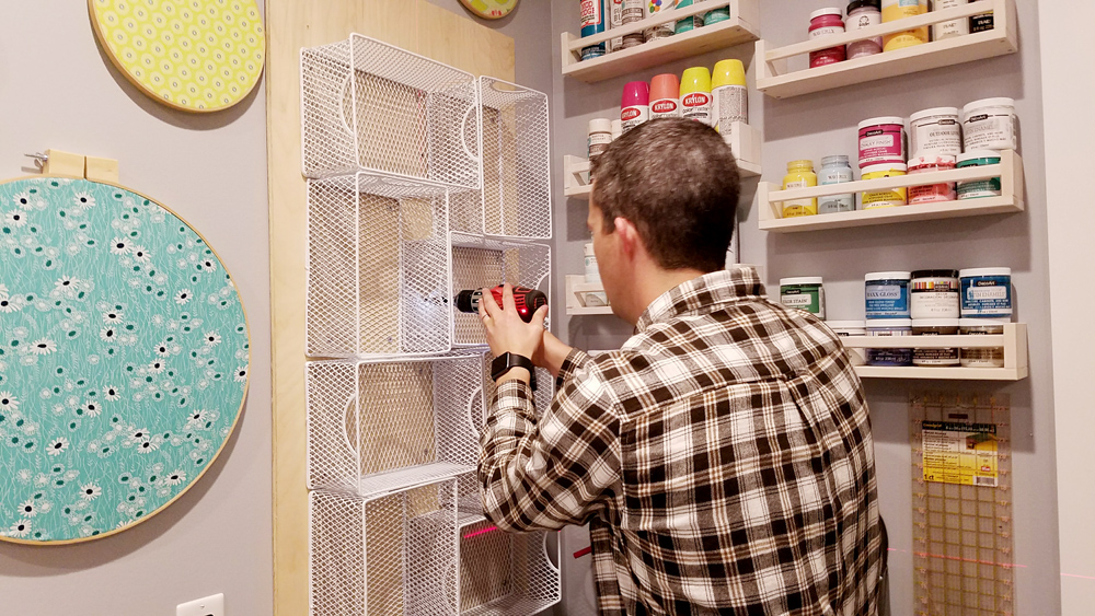 attach-craft-paint-organizer-to-wall