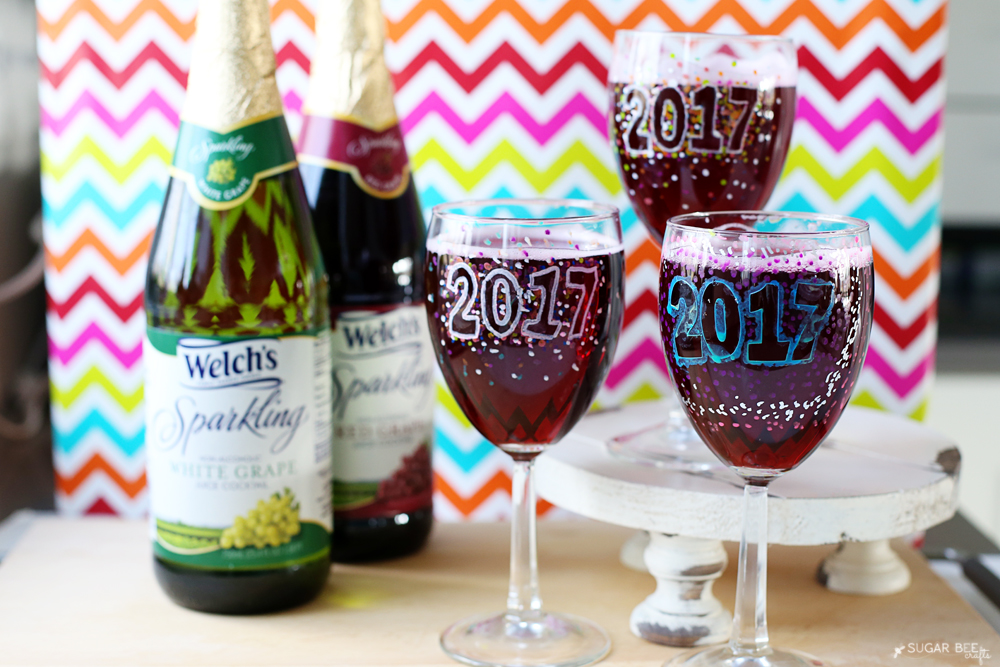 Sparkling Grape Juice New Years Eve DIY Wine Glasses Idea by Mandy Beyeler