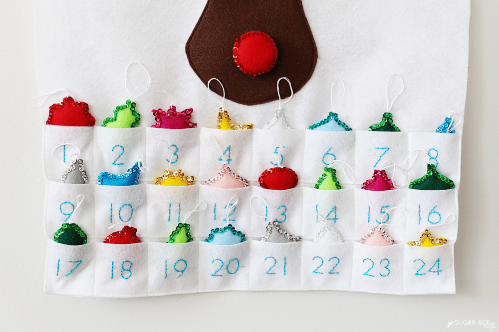 advent calendar felt pockets embroidered numbers