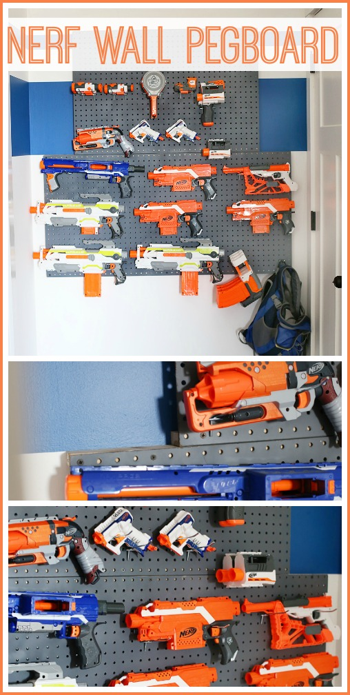 diy nerf wall pegboard storage idea