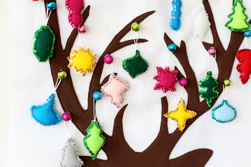 felt sequin ornaments advent