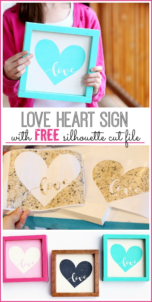 love heart free silhouette cut file valentines