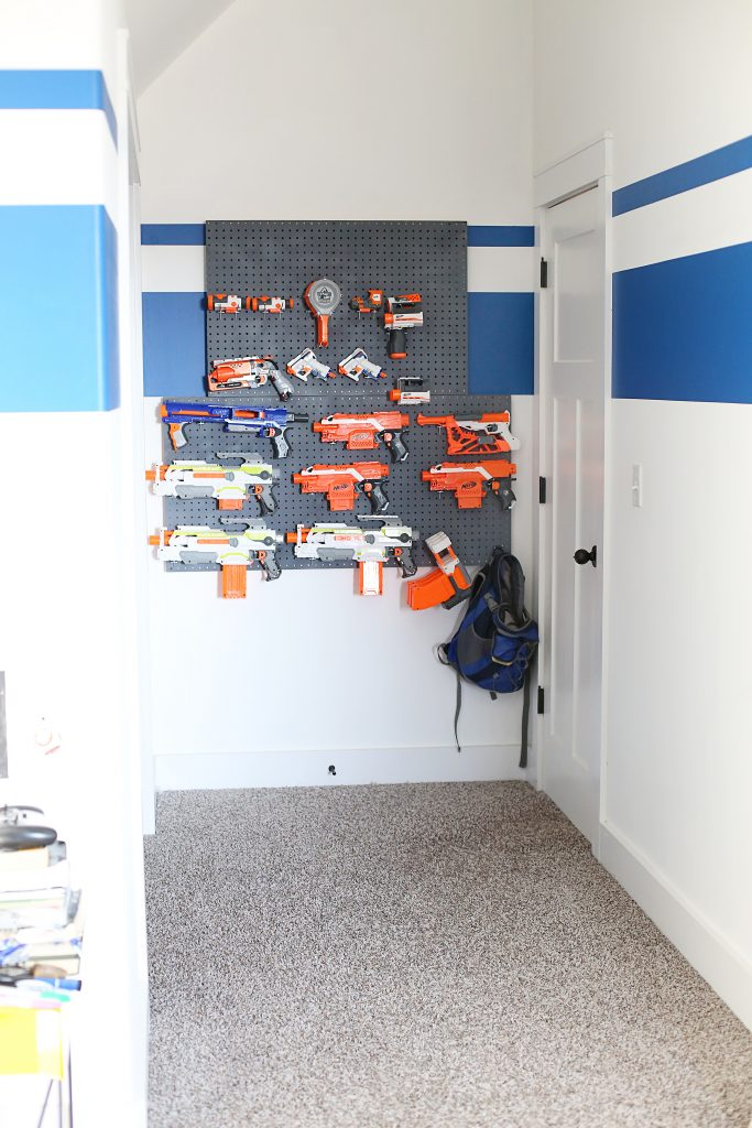 nerf storage behind the door