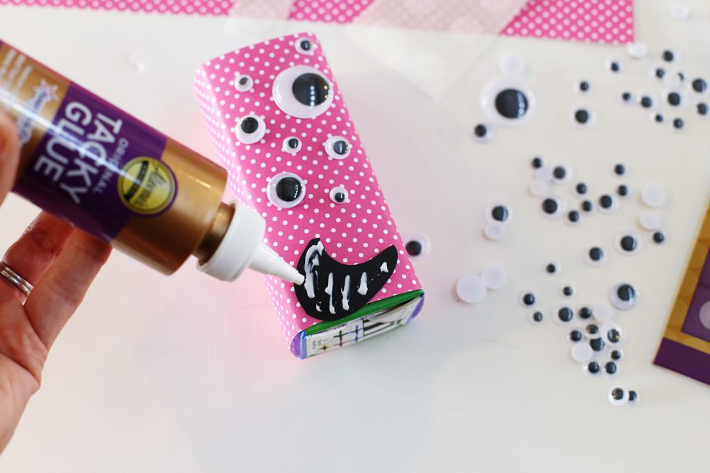 valentine juice box monster face glue