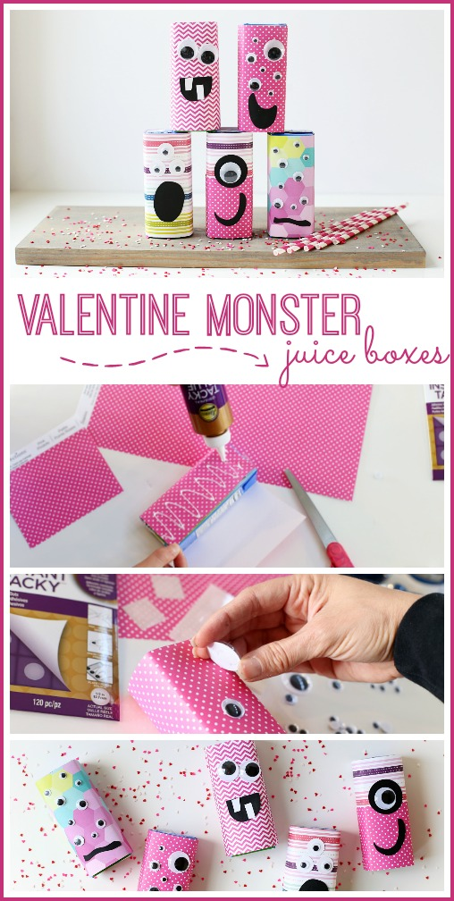valentine monster juice boxes