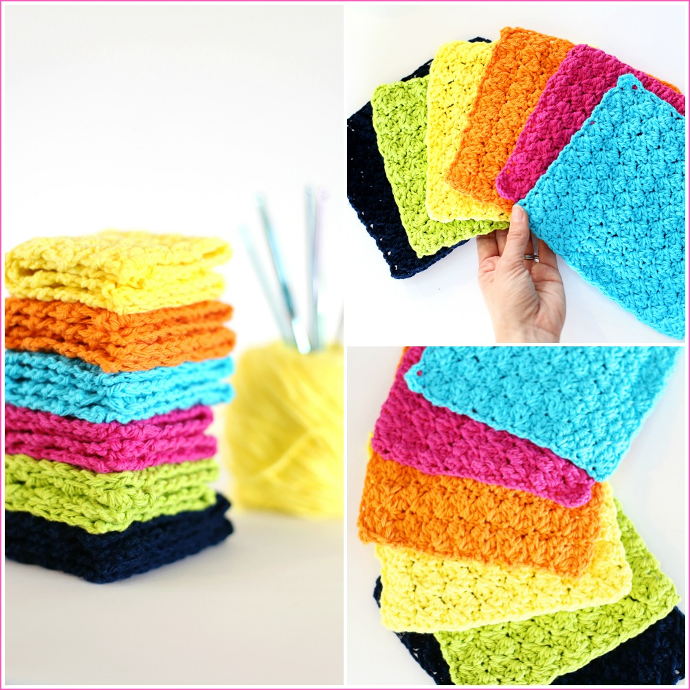 crochet dishcloth collage