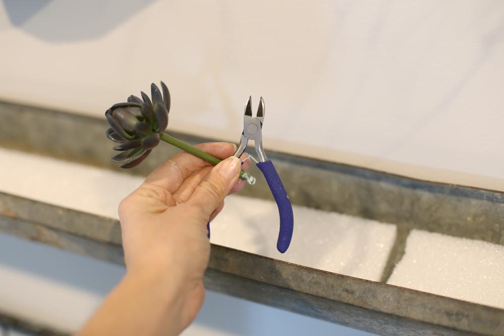cut faux succulent