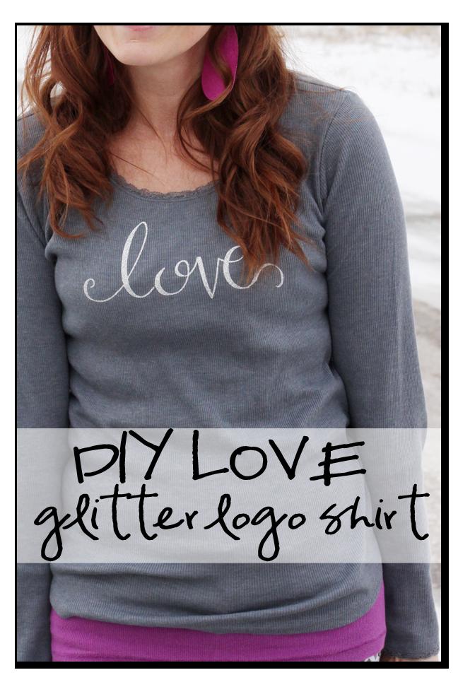 diy love logo glitter vinyl shirt