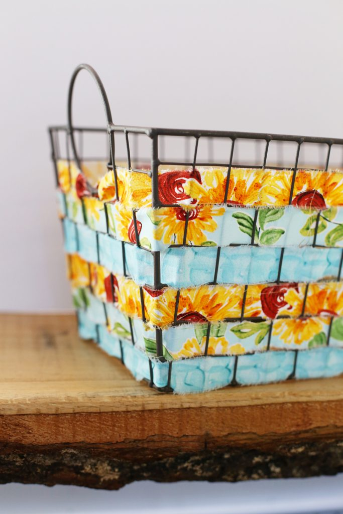 woven wire basket with fabric