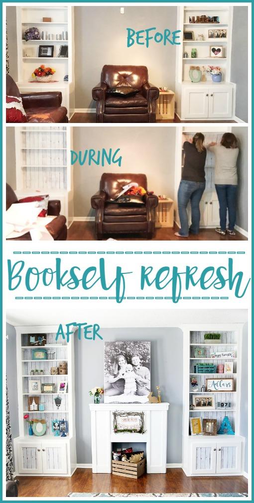 Bookshelf Refresh with wallpaper