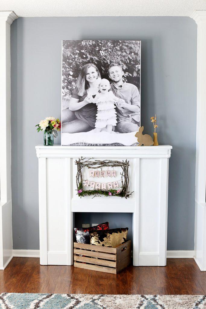 faux fireplace between bookshelves
