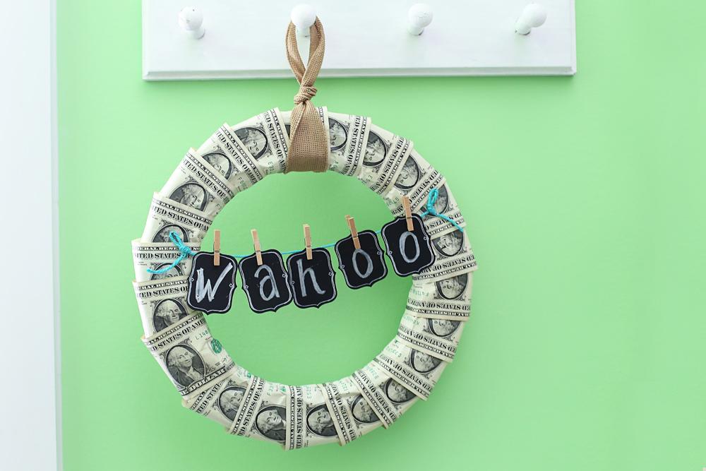 money wreath gift idea