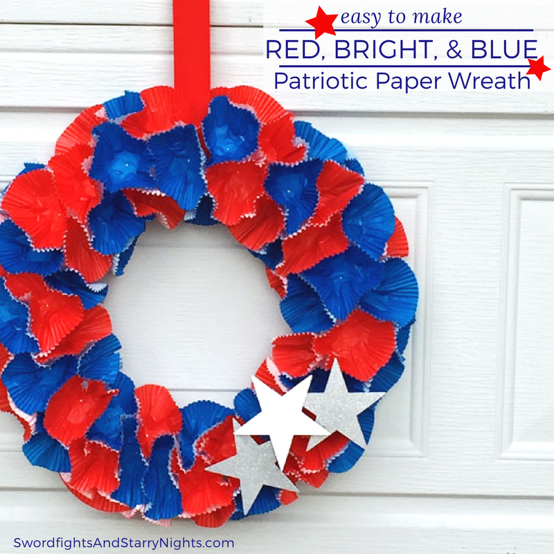 Easy to make Red, Bright, & Blue Patriotic Paper Wreath, cupcake wrappers, 4th of July, Summer, DIY, Craft, quick, 30 minute, cute, festive Square 2