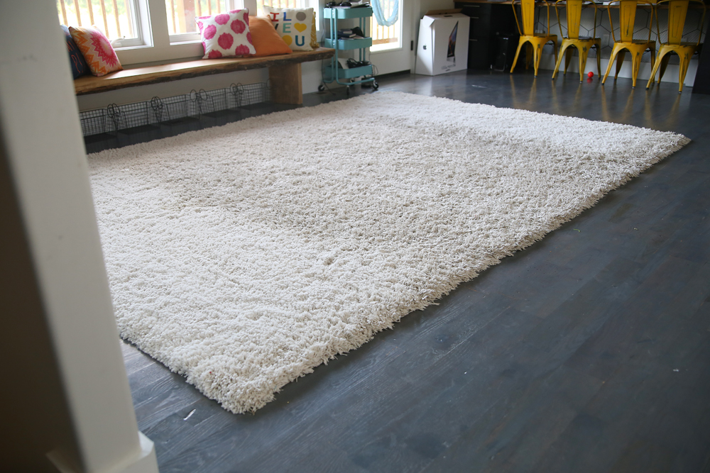 dirty white carpet rug