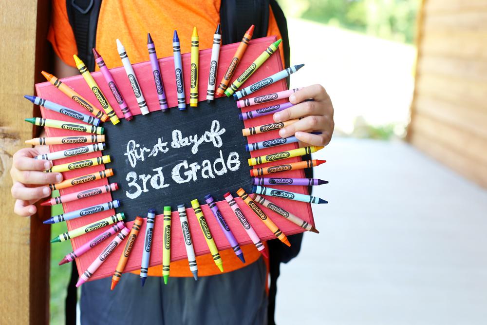 first day chalkboard frame school craft