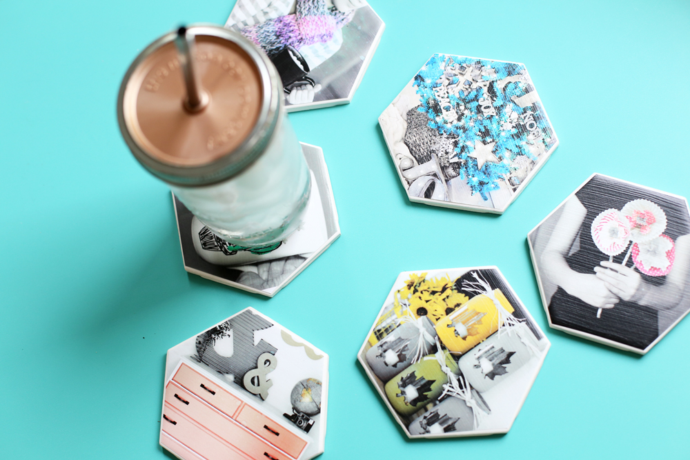 coasters hexagon photos