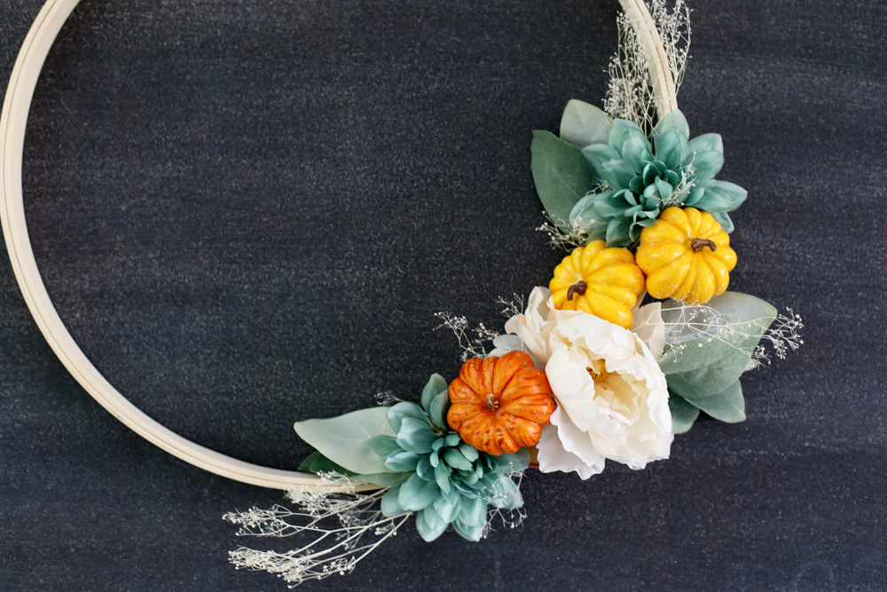 fall pumpkin hoop wreath make diy