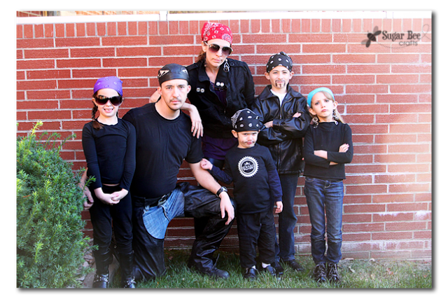 family costume bikers