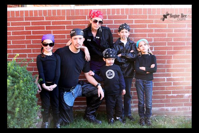 family costume bikers