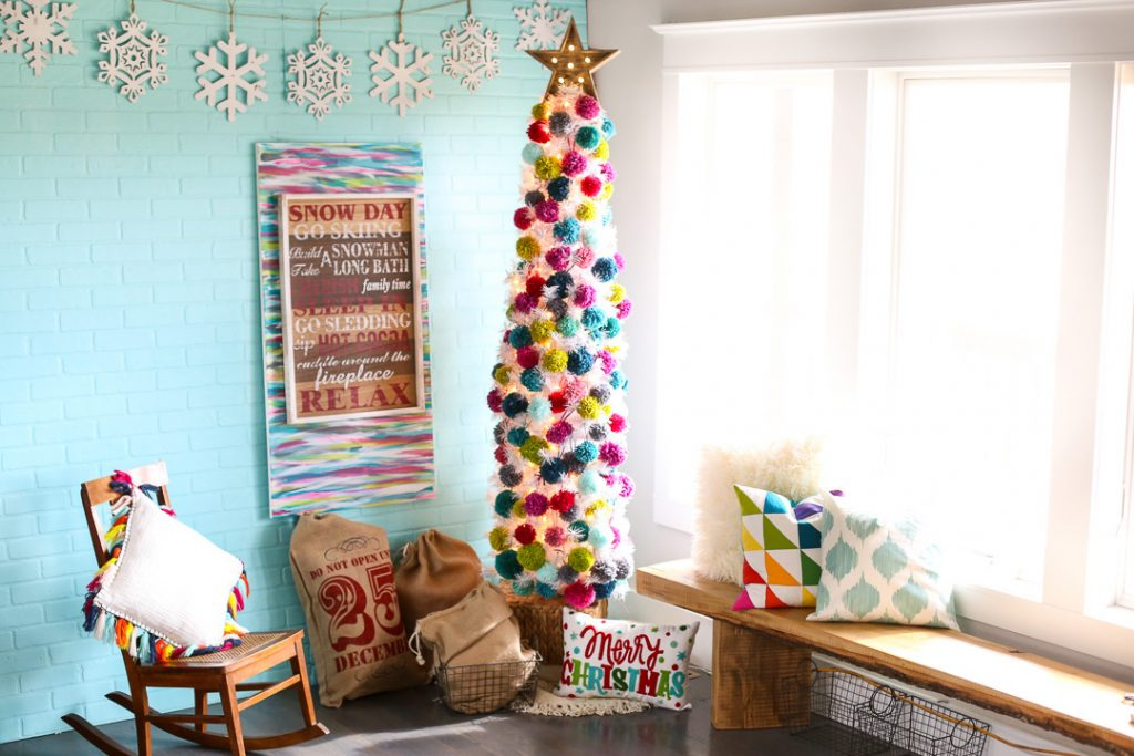 Pom Pom Christmas Tree Decor Idea by Mandy Beyeler