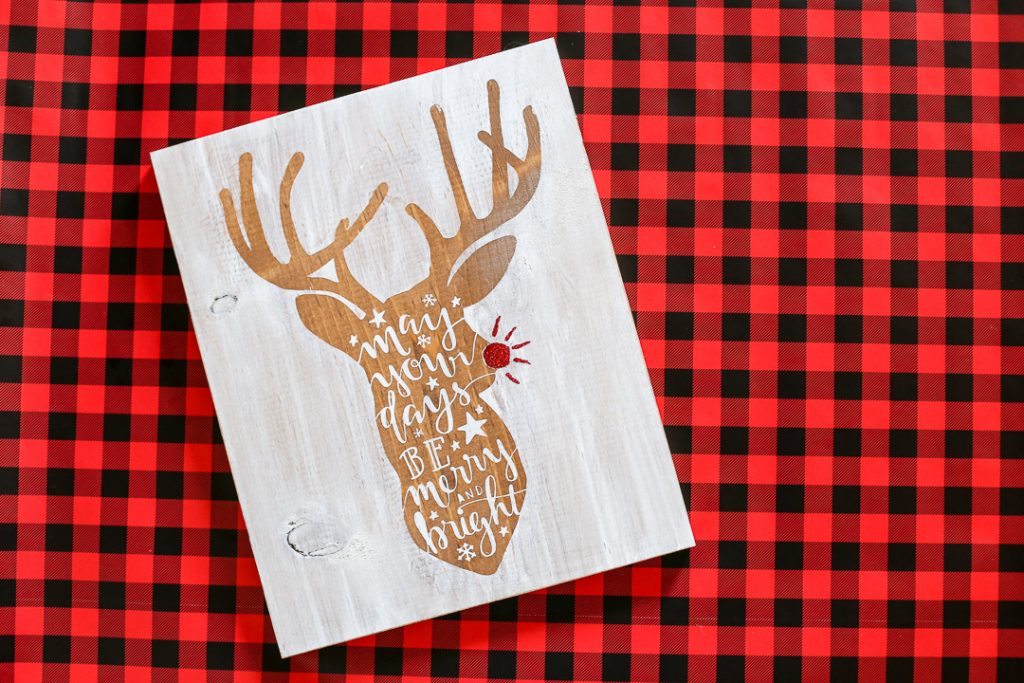 Reindeer stained stenciled sign-4