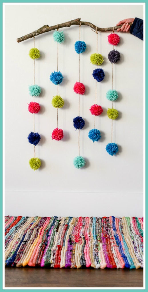 pom pom craft wall hanging
